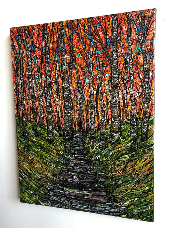 """18x24"""" Woodland Wonder Path in the Forest original acrylic painting by Tracy Levesque"""