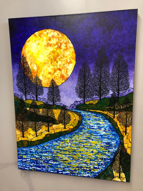 "30x40"" Moon River Gorgeous Full Moon Harvest Moon original acrylic painting by Tracy Levesque"