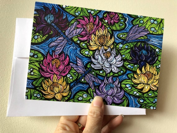 """5x7"""" Waterlilies Lotus Flowers greeting card by Tracy Levesque"""