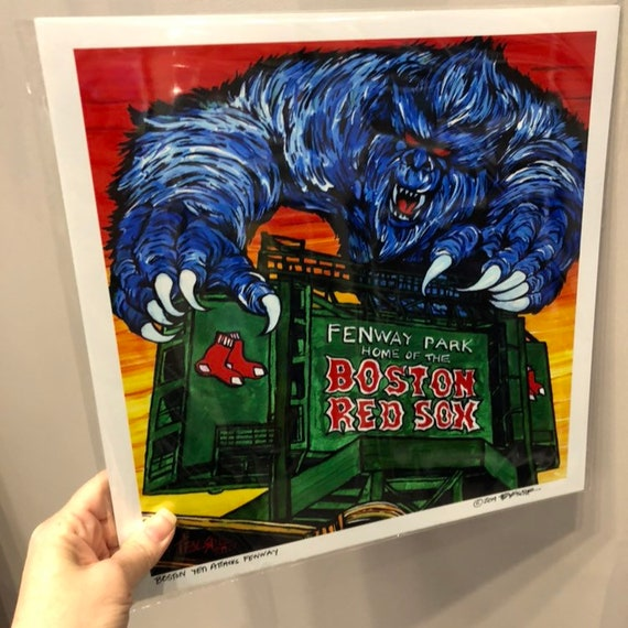 """Boston Yeti Attacks Fenway! Limited edition metallic photographic print 8x8"""" or 12x12"""" by Tracy Levesque"""