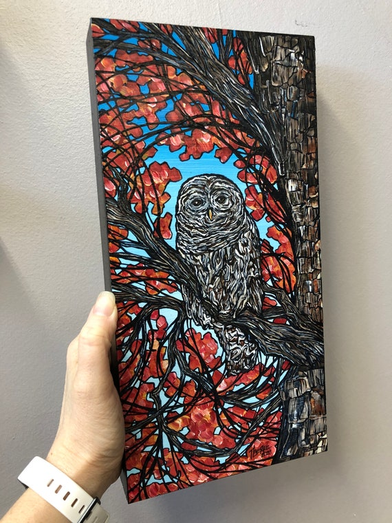 """6x12"""" Barred Owl in a Tree original acrylic painting by Tracy Levesque"""