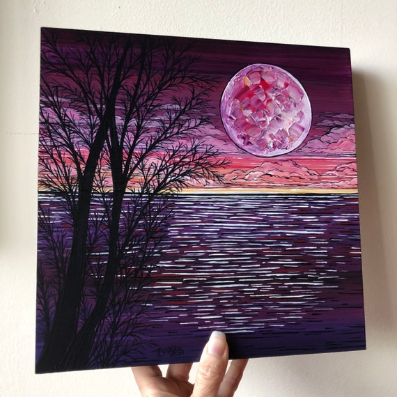 """10x10"""" Purple Paradiso Moon Over the Water original painting by Tracy Levesque"""