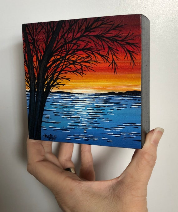 """4x4"""" Red Sunset JB44 original mini acrylic painting by Tracy Levesque"""