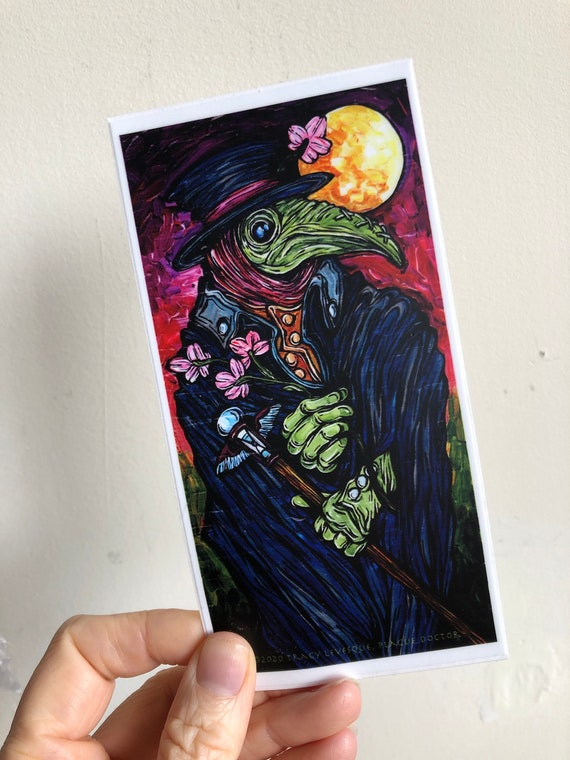 """3x6"""" Plague Doctor Vinyl Sticker by Tracy Levesque"""