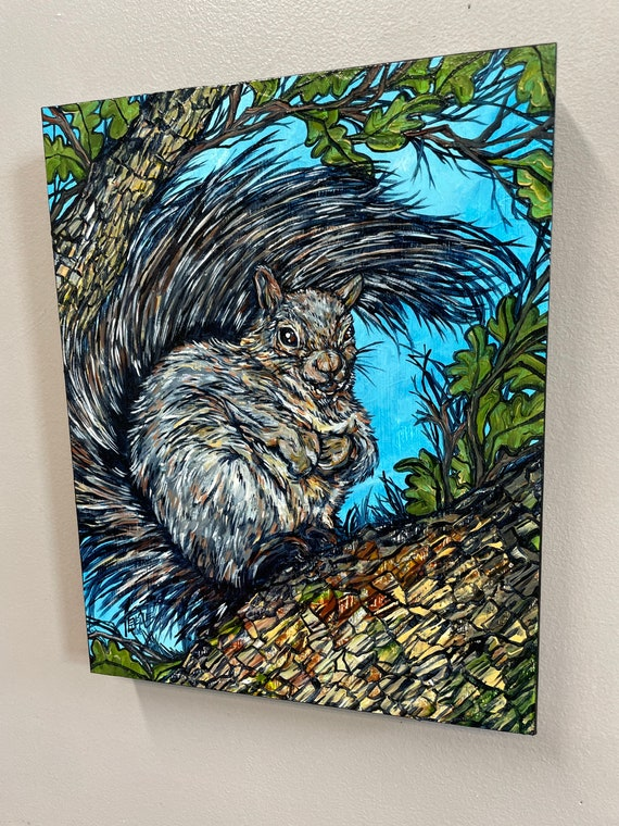 """11x14"""" Fluffy Tail Squirrel original painting by Tracy Levesque"""