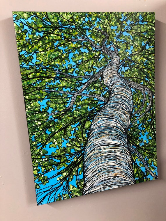 "18x24"" Solstice Birch Looking Up the Tree original acrylic painting by Tracy Levesque"