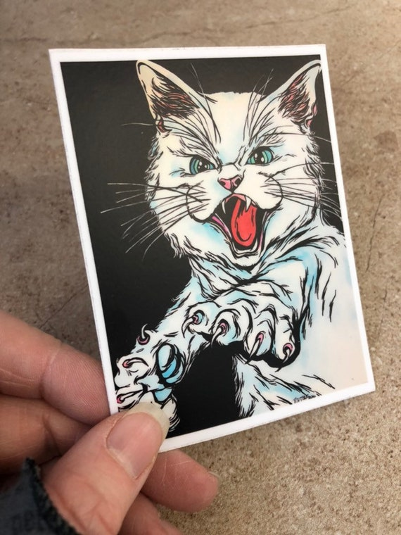"""3x4"""" Angry Cat vinyl sticker by Tracy Levesque"""