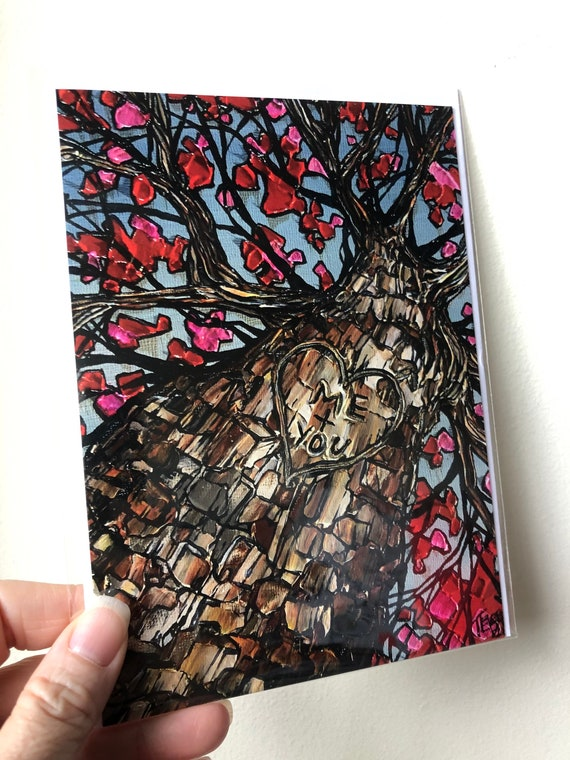 """5x7"""" Me + You Tree Anniversary Wedding Romance greeting card with envelope featuring  artwork by Tracy Levesque"""