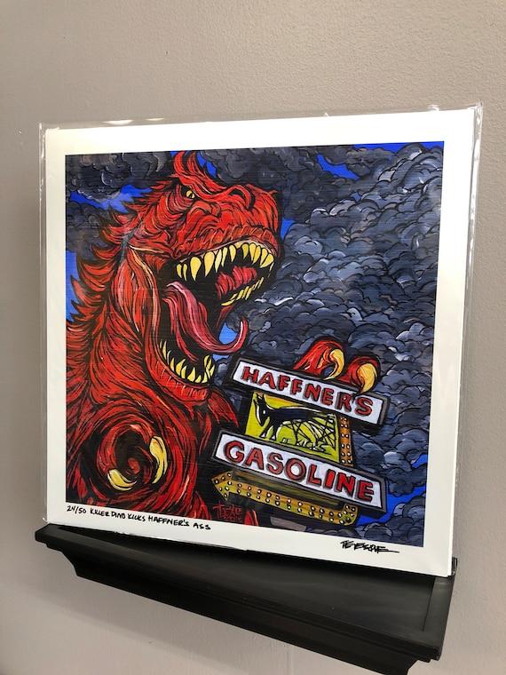 "Killer Dinosaur Kicks Haffners... 12x12"" Limited Edition Metallic Print by Tracy Levesque"