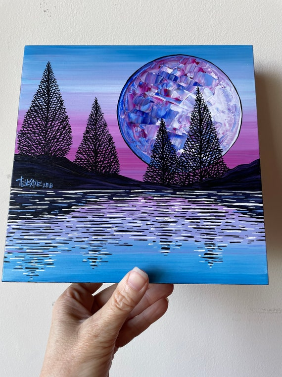 """8x8"""" Mystic Moon Full Moon original acrylic painting by Tracy Levesque"""