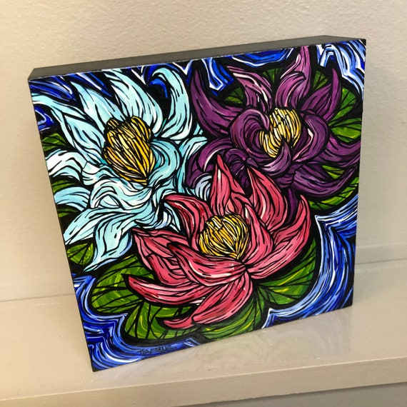 "6x6"" Three Lucky Lotus Water Colorful Lilies original acrylic painting by Tracy Levesque"