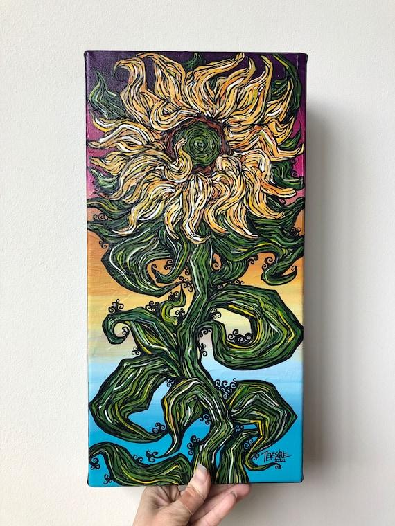 "8x16"" Joyful Sunflower original acrylic painting by Tracy Levesque"