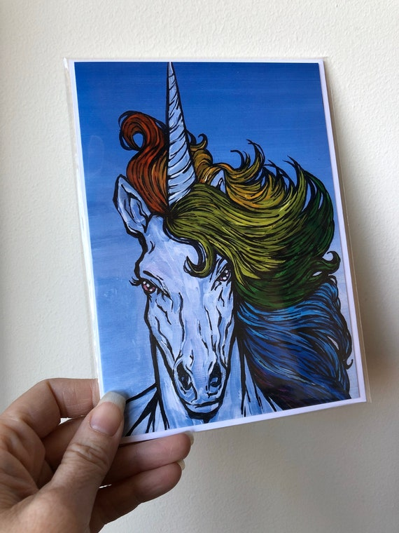 """5x7"""" Majestic rainbow hair unicorn greeting card featuring artwork by Tracy Levesque"""