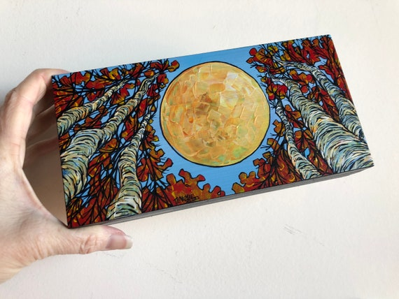 """4x8"""" Super Sun Looking Up the Birch Trees original acrylic painting by Tracy Levesque"""