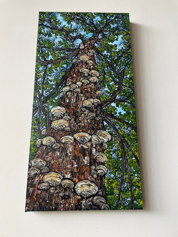 """15x30"""" Fantastic Fungi Tree Looking Up a Tree original painting by Tracy Levesque"""