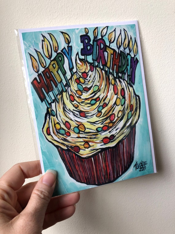 """5x7"""" Happy Birthday Cupcake with Candles blank greeting card with envelope featuring artwork by Tracy Levesque"""