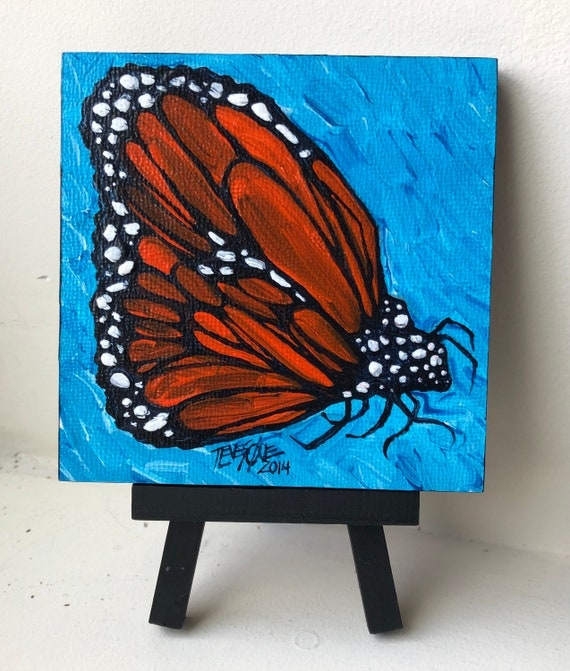 """Monarch Butterfly 4x4"""" mini painting on display easel by Tracy Levesque"""