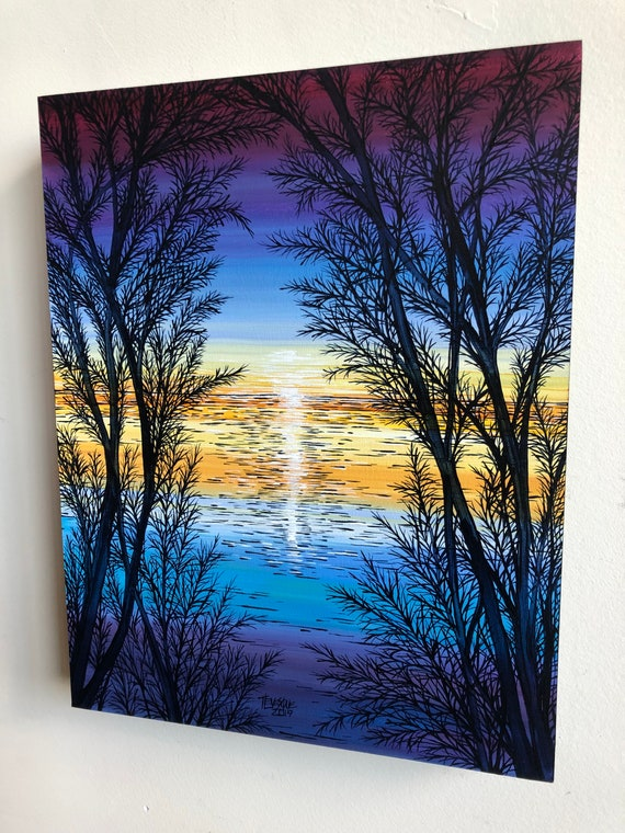"""Abiding Sunset 11x14"""" original acrylic painting on wood panel by Tracy Levesque"""