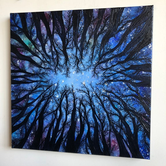 """24x24"""" Starry Expanse looking up the trees into the night sky original painting by Tracy Levesque"""