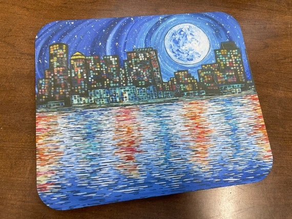 Full Moon over Boston Cityscape Skyline mousepad featuring artwork by Tracy Levesque