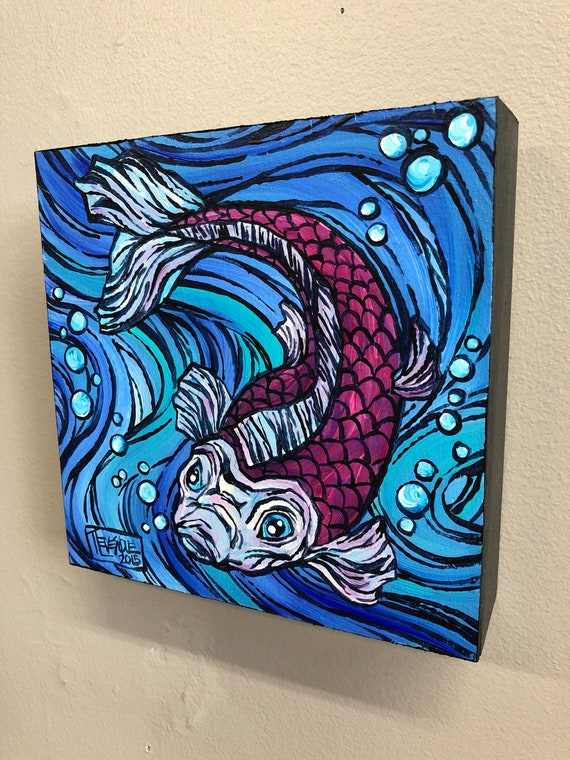 Purple and Pink Koi Fish, original acrylic painting by Tracy Levesque