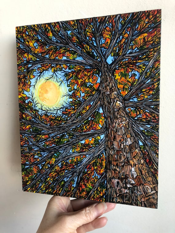 "8x10"" Glimpse of the Sun Autumn Tree painting by Tracy Levesque"