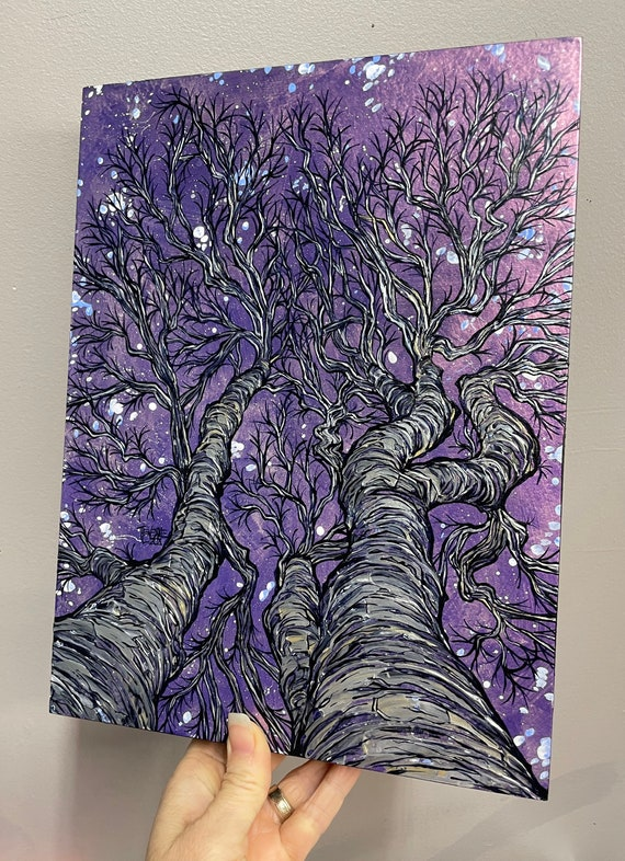 """9x12"""" Silvery Beech Trees at Midnight Exquisite Night Sky Looking Up the Trees Painting by Tracy Levesque"""