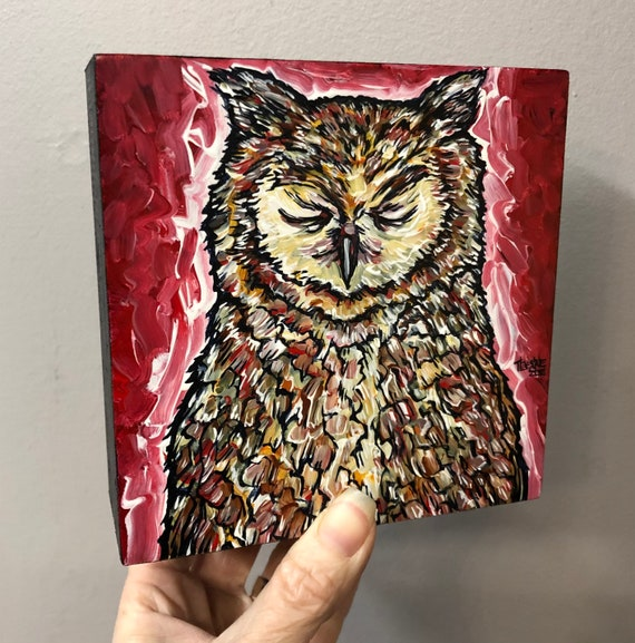 """5x5"""" Owl of Tranquility original acrylic painting by Tracy Levesque"""
