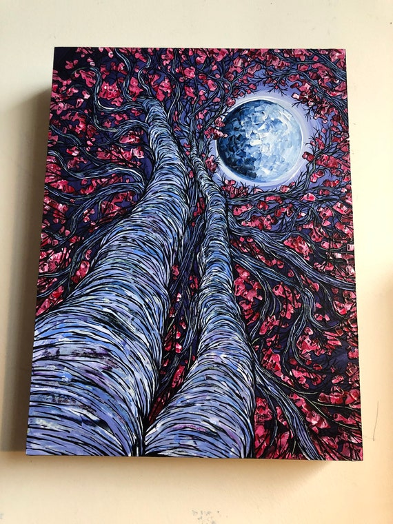 "12x16"" Super Moon Cherry Blossoms original acrylic painting by Tracy Levesque"