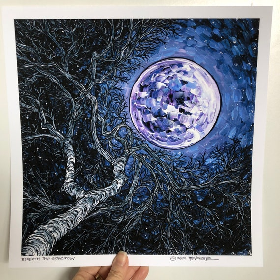 """12x12"""" Giclee fine art print Beneath the Supermoon by Tracy Levesque"""