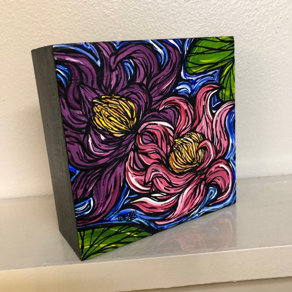 "4x4"" Pink and Purple Lotus flowers water lilies original acrylic painting by Tracy Levesque"