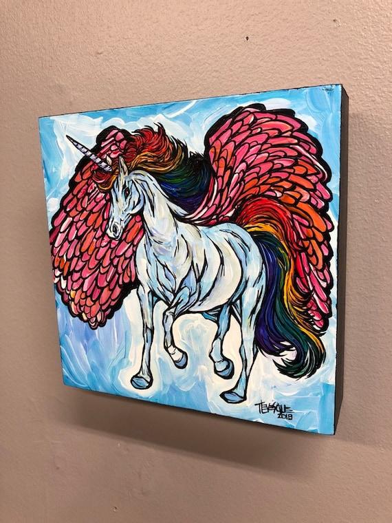 "Unicorn Pegasus 6x6"" Original acrylic painting by Tracy Levesque"