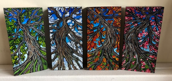"4 Seasons Trees and Roots Collection by Tracy Levesque - Comes with 4 individual 3x6"" mini paintings for you to hang anyway you choose!"