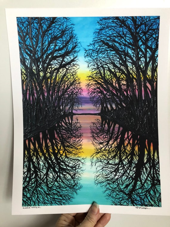 "Mirror Water Tree Reflection 11x14"" unmatted fine art giclee print by Tracy Levesque"