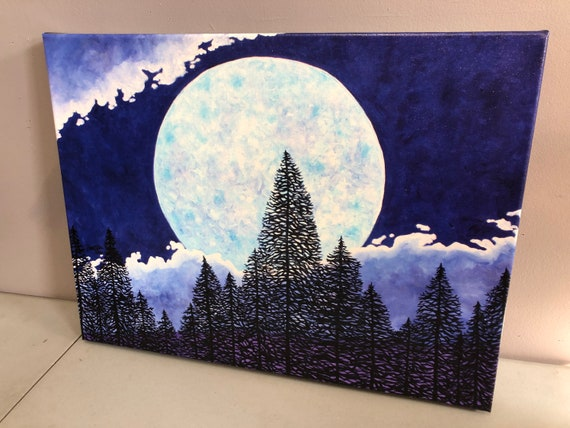 """18x24"""" Blue Moon Giclee print on canvas by Tracy Levesque"""