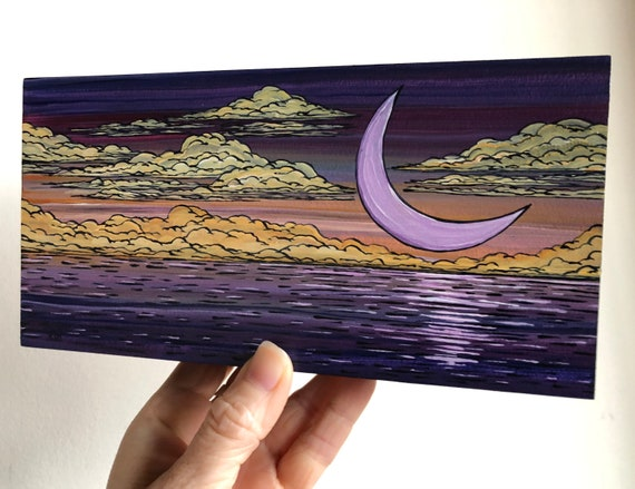 "4x8"" Crescent Moon Purple Sea Peaceful original acrylic painting by Tracy Levesque"