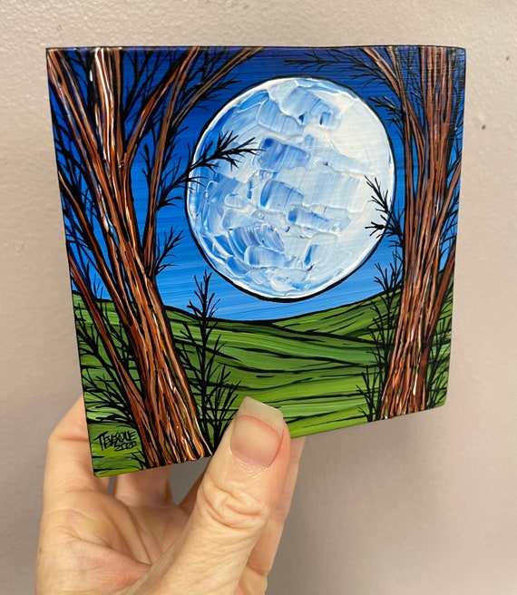 """4x4"""" Full moon through the Trees original acrylic painting by Tracy Levesque"""