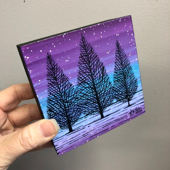 """4x4"""" One of a kind original painting of Winter Trees NB61 by Tracy Levesque"""