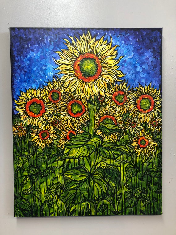 """Sunflower City 24x30"""" original acrylic painting by Tracy Levesque"""