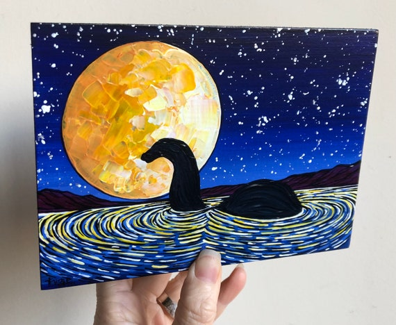 """5x7"""" Nessie by Moonlight Whimsical Loch Ness Monster original acrylic painting by Tracy Levesque"""