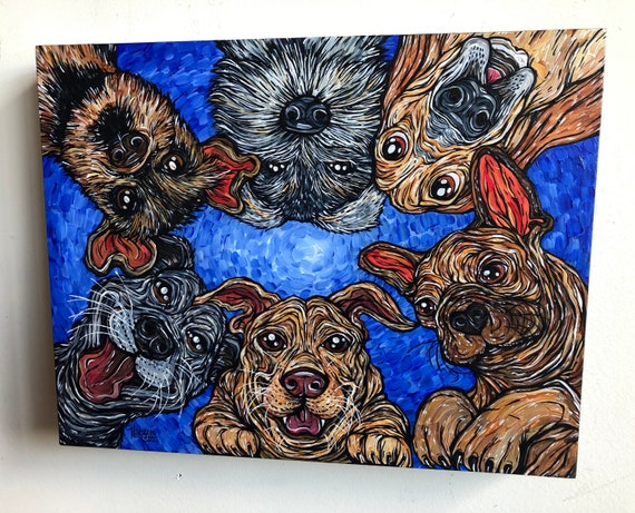 """Downward Dogs 11x14"""" original acrylic painting in wood panel by Tracy Levesque"""