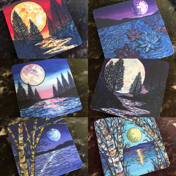 "Moon Coasters Sold Separately - Flexible Fabric - Perfect for Summer Drinks - 3.5"" Square Coasters featuring artwork by Tracy Levesque"