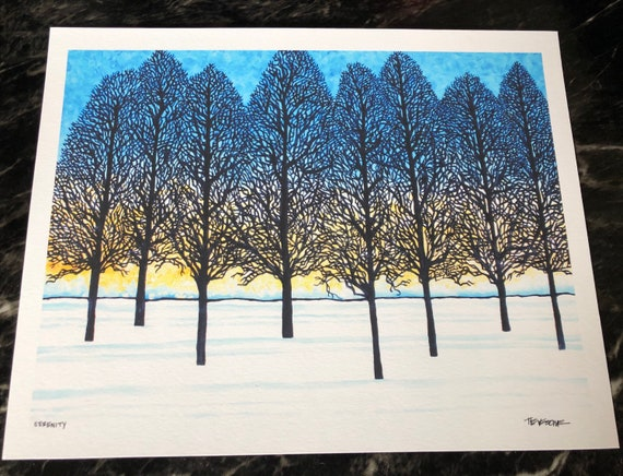"Serenity - Winter Tree Silhouettes 11x14"" Fine Art giclee print by Tracy Levesque"