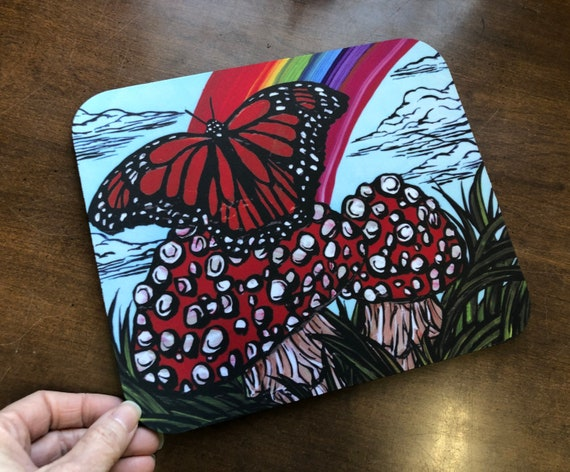 Rainbow Monarch Butterfly with Mushrooms Whimsical Mousepad