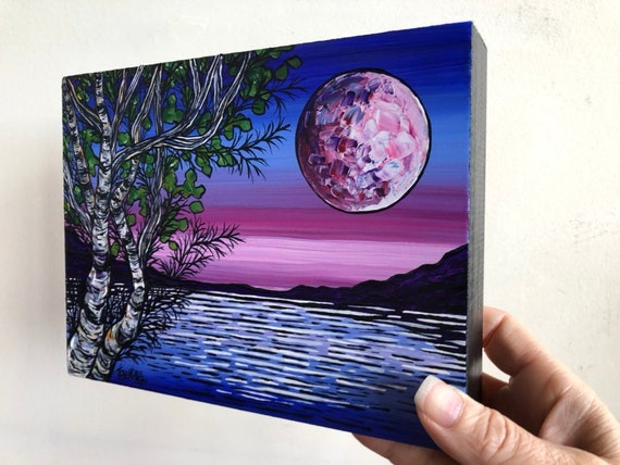 """6x8"""" Original acrylic painting by Tracy Levesque Moon Glow Birches"""