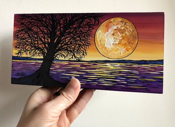 "4x8"" The Color of Calm Sunset Silhouette Tree original painting by Tracy Levesque"