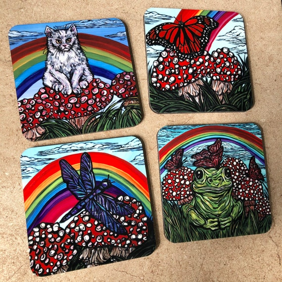 Rainbow Mushroom Friends - Set of 4 glossy coasters featuring artwork by Tracy Levesque