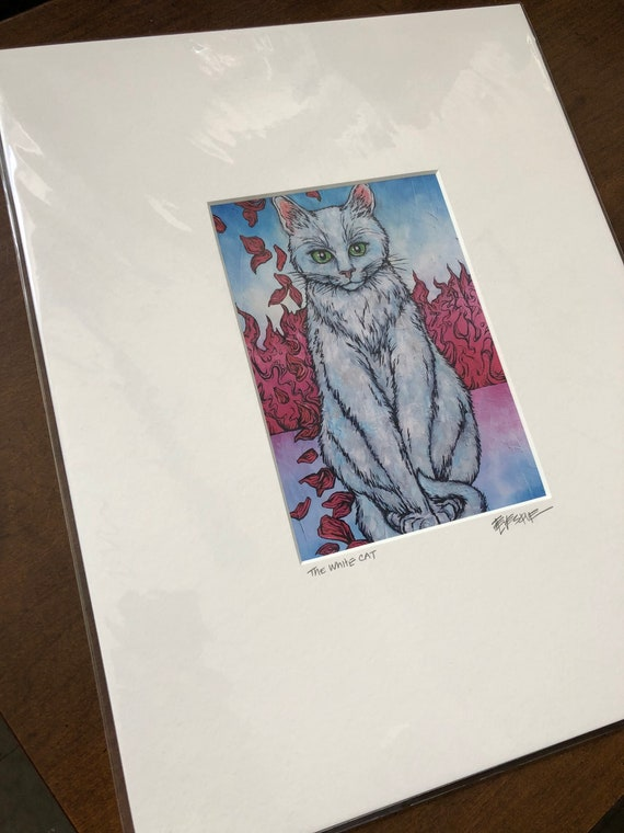 """Matted print of the White Cat by Tracy Levesque (11x14"""" mat size, 5x7"""" print size)"""