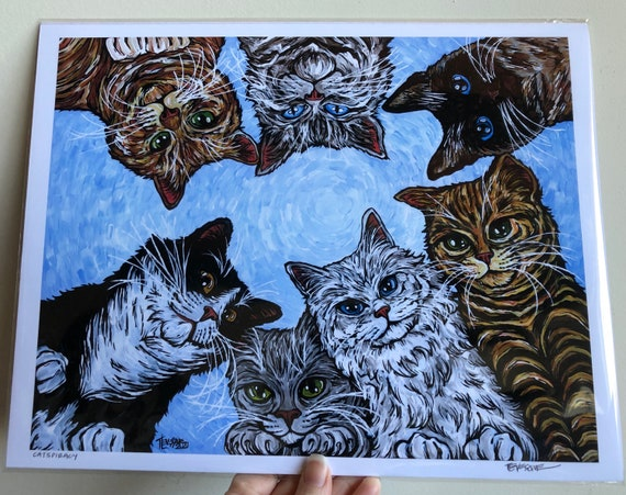 """Catspiracy 11x14"""" Fine Art Giclee Print by Tracy Levesque"""