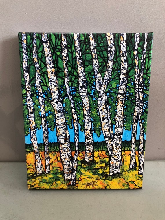 """11x14"""" Giclee on canvas Summer Birches by Tracy Levesque"""